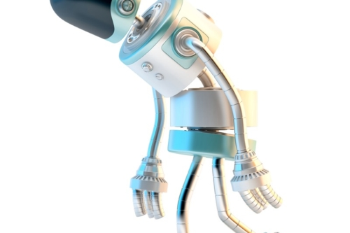 Sad walking robot. 3D illustration. Isolated. Contains clipping path - slon.pics - free stock photos and illustrations