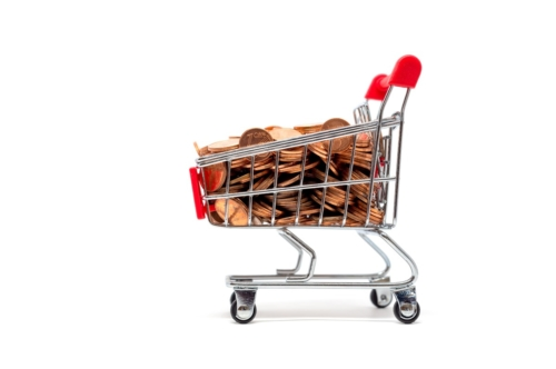 Shopping cart full of euro coins - slon.pics - free stock photos and illustrations