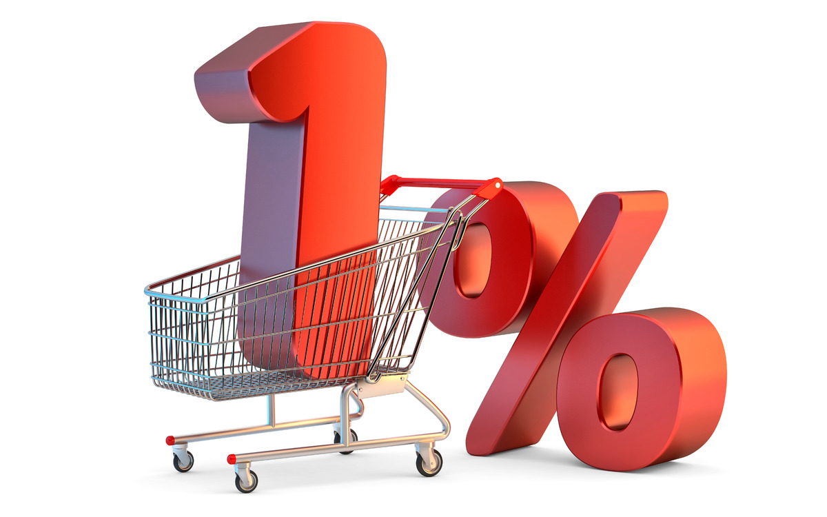 Shopping cart with 1% discount sign. 3D illustration. Isolated. Contains clipping path - slon.pics - free stock photos and illustrations