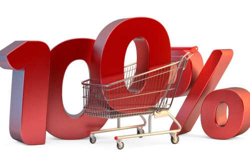 Shopping cart with 100% discount sign. 3D illustration. Isolated. Contains clipping path - slon.pics - free stock photos and illustrations