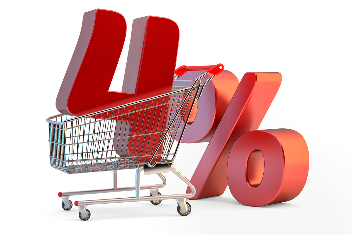 Shopping cart with 4% discount sign. 3D illustration. Isolated. Contains clipping path - slon.pics - free stock photos and illustrations