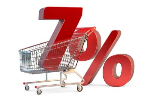 Shopping cart with 7% discount sign. 3D illustration. Isolated. Contains clipping path - slon.pics - free stock photos and illustrations