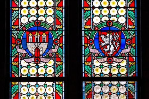 Stained Glass Window in the Powder Tower. Prague. Czech Republic - slon.pics - free stock photos and illustrations