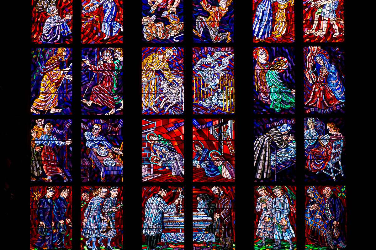 Stained-glass window designed by Art Nouveau painter Alfons Mucha in St. Vitus Cathedral. Prague, Czech Republic - slon.pics - free stock photos and illustrations