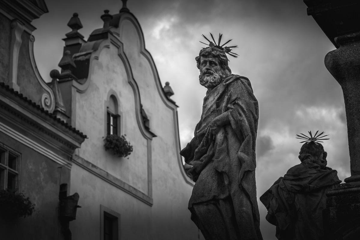 Statue at plague column in Cesky Krumlov, Czech republic - slon.pics - free stock photos and illustrations