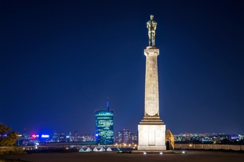 The Victor Monument and Belgrade cityscape. Serbia. September 23, 2015 - slon.pics - free stock photos and illustrations
