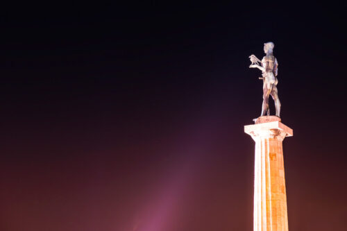 The Victor Monument on Kalemegdan Fortress at night. Belgrade, Serbia - slon.pics - free stock photos and illustrations