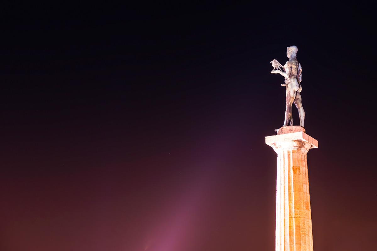 The Victor Monument on Kalemegdan Fortress at night. Belgrade, Serbia - slon.pics - free stock photos and illustrations