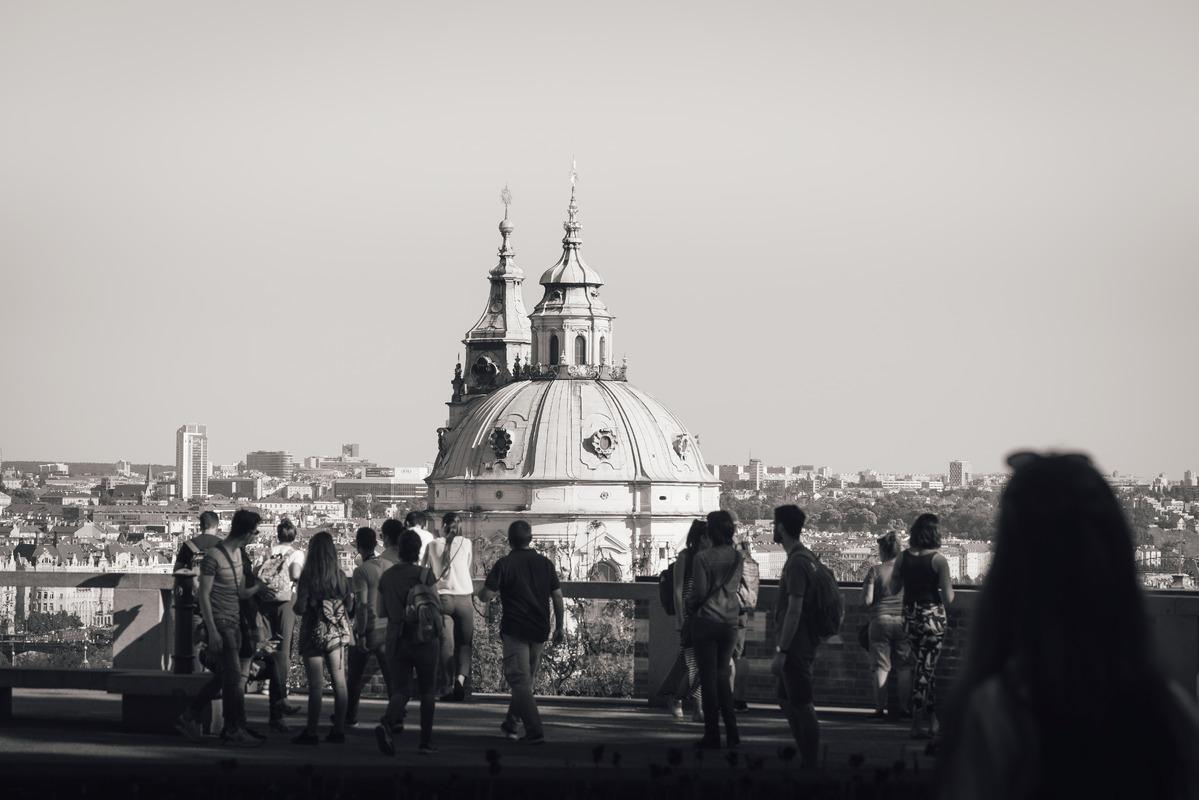 Tourists at viewpoint. Mala strana, Prague, Czech Republic - slon.pics - free stock photos and illustrations