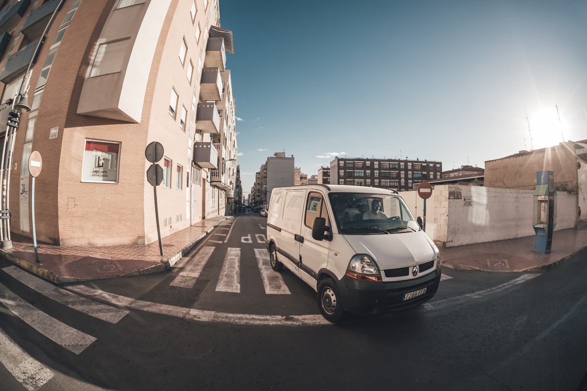 Van driving on a sunny day. Torrevieja, Spain. November 13, 2017 - slon.pics - free stock photos and illustrations