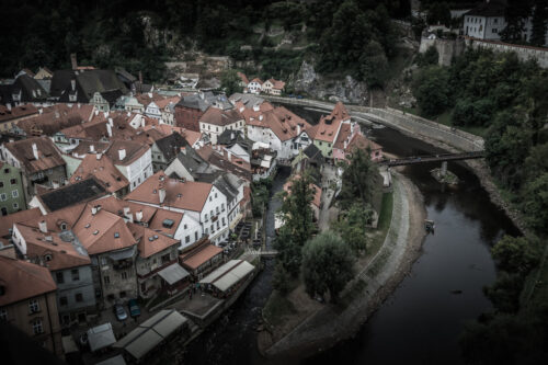 View of Cesky Krumlov town and Vltava river. Czech Republic - slon.pics - free stock photos and illustrations