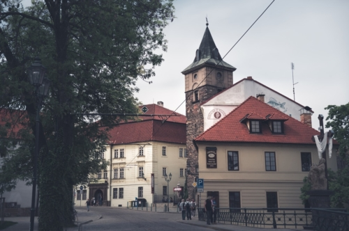 View of Prazska street with Old water tower on background. Pilsen (Plzen), Czech Republic. May 22, 2017 - slon.pics - free stock photos and illustrations