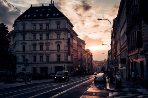 View of Seifertova street at sunset. Prague, Czech Republic - slon.pics - free stock photos and illustrations