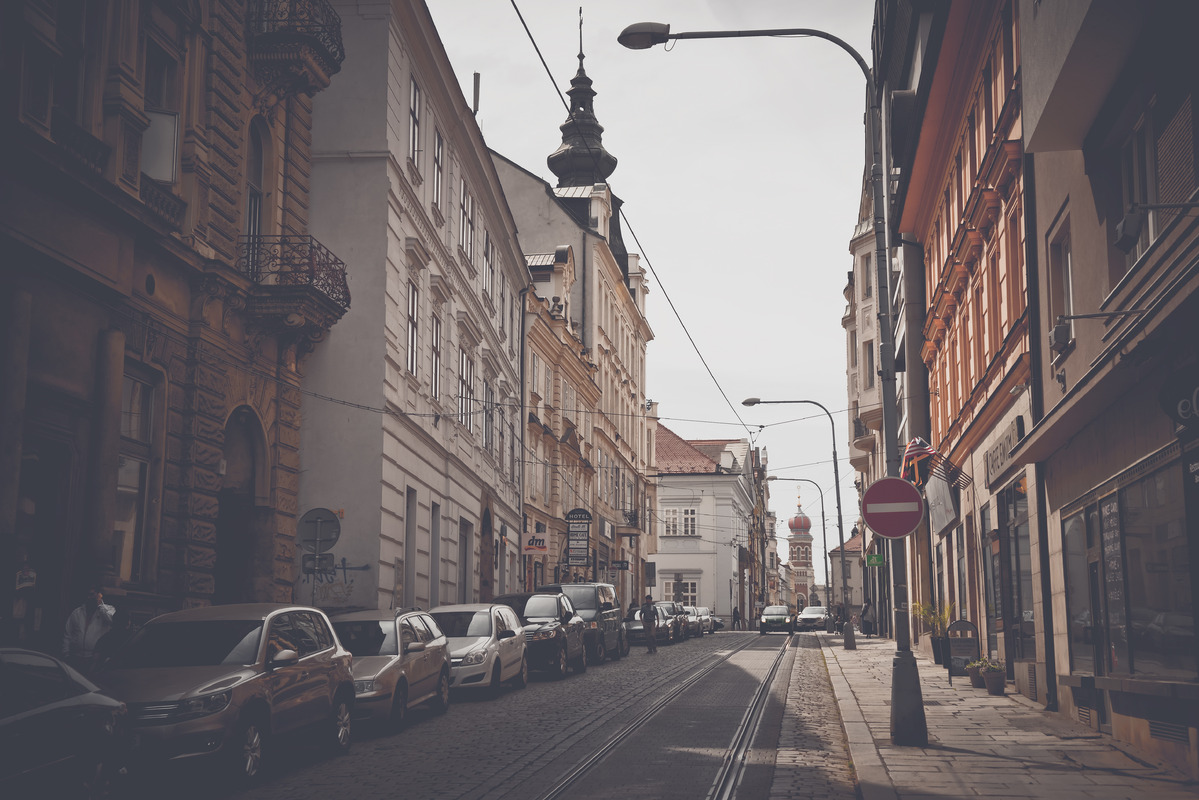 View of Zbrojnicka street. Plzen, Czech Republic. May 22, 2017 - slon.pics - free stock photos and illustrations