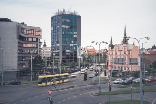 View of crossroad in Plzen city. Police Headquarters and Business Center. May 22, 2017 - slon.pics - free stock photos and illustrations
