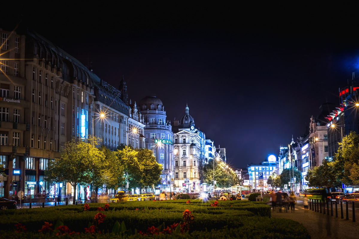 Wenceslas Square at night. Prague, Czech Republic. September 01, 2016 - slon.pics - free stock photos and illustrations