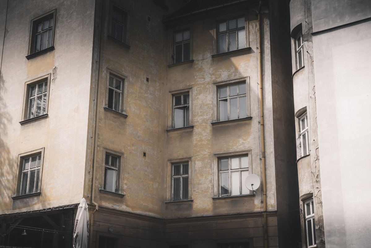 Windows on shabby wall. Pilsen, Czech Republic - slon.pics - free stock photos and illustrations