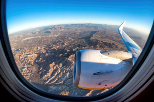 A view from the window seat taking off from Alicante. Spain - slon.pics - free stock photos and illustrations