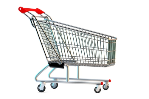 Empty shopping cart. Side view. 3D illustration. Isolated. Contains clipping path - slon.pics - free stock photos and illustrations