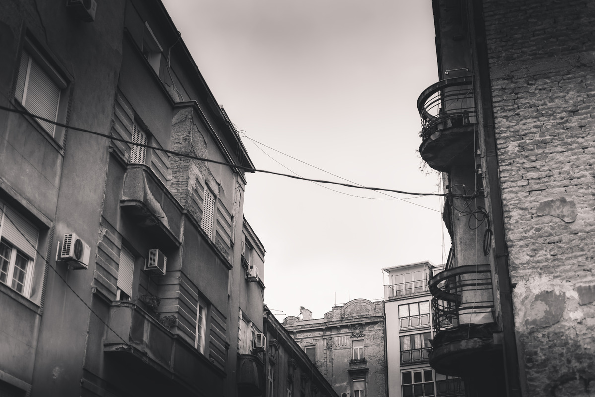 Facade of old house at Kosancicev Venac neighborhood. Belgrade, Serbia - slon.pics - free stock photos and illustrations
