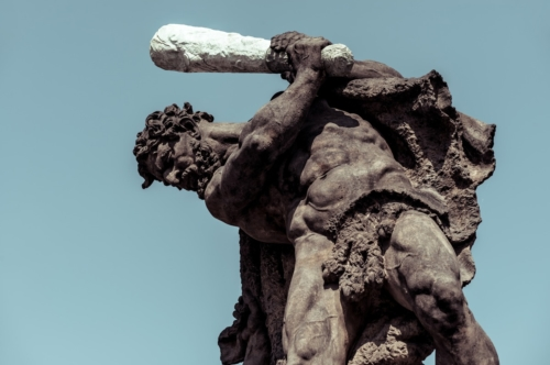 Fighting Giants. Statue above the gates of Prague Castle. Prague, Czech Republic - slon.pics - free stock photos and illustrations