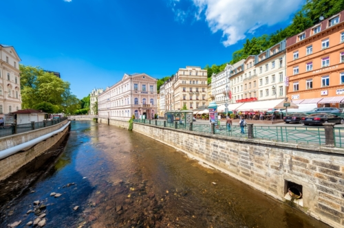 Historic city center with river of the spa town Karlovy Vary. Czech Republic. May 26, 2017 - slon.pics - free stock photos and illustrations