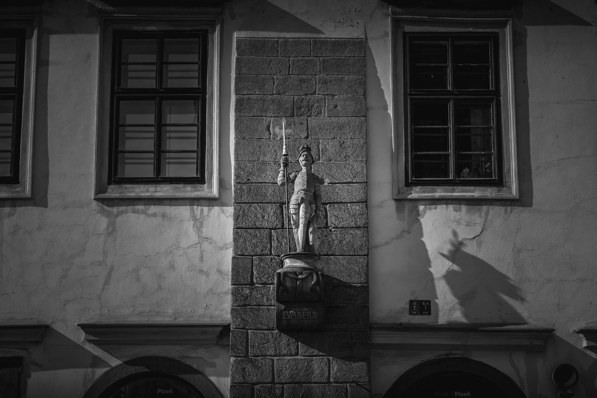 Imperial house with statue of a knight Zumbera. Republic square, Plzen, Czech Republic - slon.pics - free stock photos and illustrations