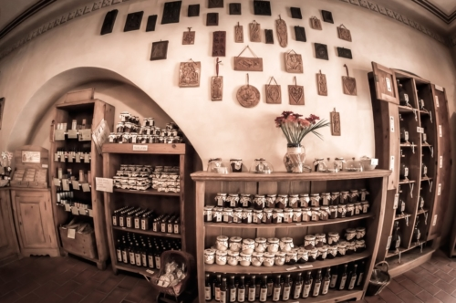 Interior of a traditional souvenir shop at Cesky Krumlov. Czech Republic. May 20, 2017 - slon.pics - free stock photos and illustrations