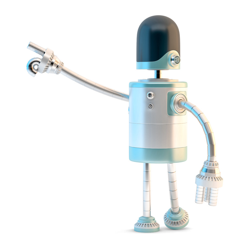 Robot pointing away. 3D illustration. Isolated. Contains clipping path - slon.pics - free stock photos and illustrations