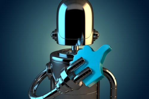 Robot with LIKE symbol. 3D illustration. Contains clipping path - slon.pics - free stock photos and illustrations