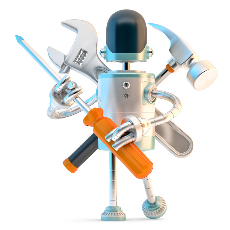 Robot with construction tools. 3D illustration. Contains clipping path - slon.pics - free stock photos and illustrations