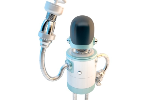 Robot with energy saving light bulb. 3D illustration. Contains clipping path - slon.pics - free stock photos and illustrations