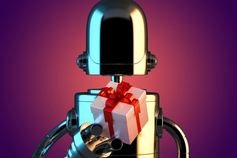 Robot with gift box. 3D illustration. Contains clipping path - slon.pics - free stock photos and illustrations
