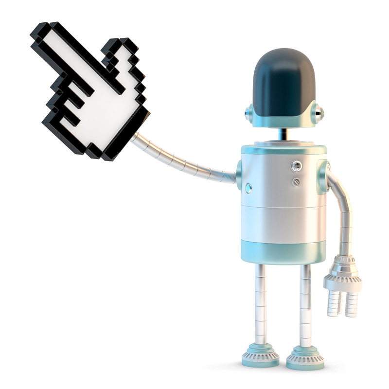 Robot with pointing finger. 3D illustration. Isolated. Contains clipping path - slon.pics - free stock photos and illustrations