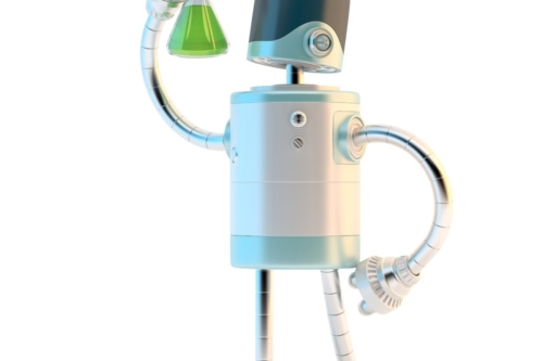 Robot with test flask. Technology research concept. 3D illustration. Contains clipping path - slon.pics - free stock photos and illustrations