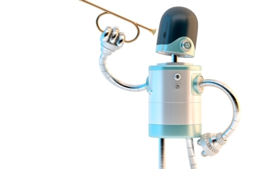 Robot with trumpet. 3D illustration. Contains clipping path. - slon.pics - free stock photos and illustrations