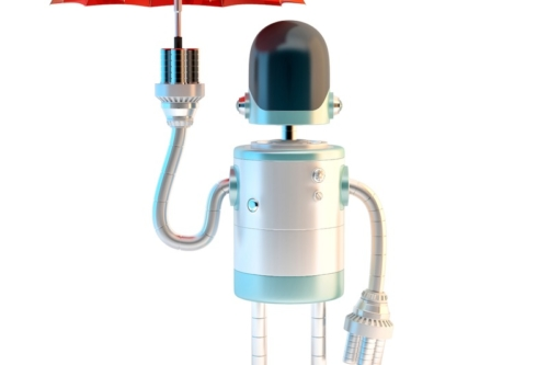 Robot with umbrella. 3D illustration. Contains clipping path - slon.pics - free stock photos and illustrations