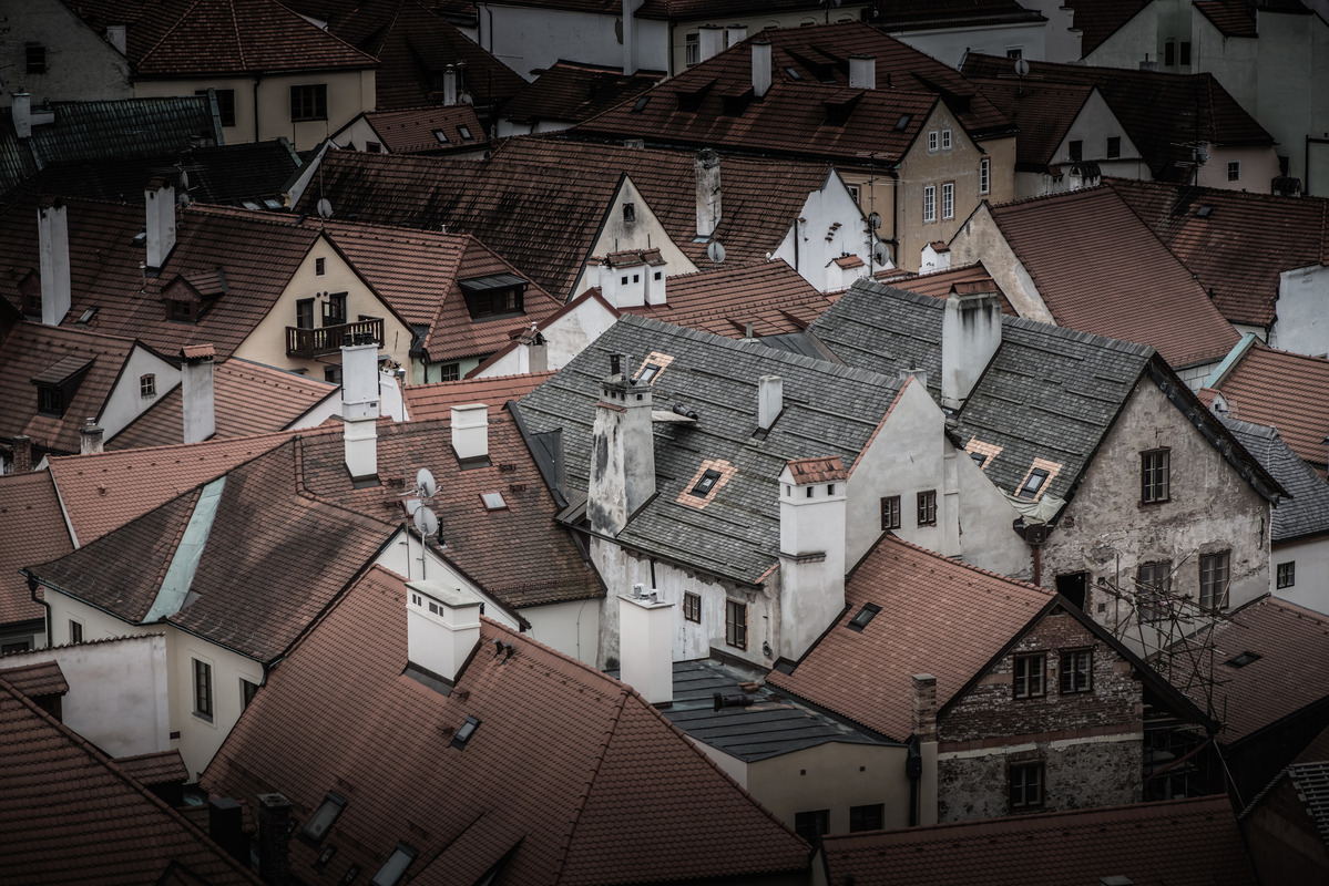 Rooftops of houses in the old town of Cesky Krumlov. Czech Republic - slon.pics - free stock photos and illustrations