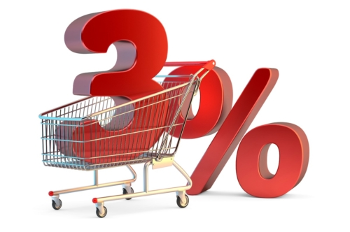 Shopping cart with 3% discount sign. 3D illustration. Isolated. Contains clipping path - slon.pics - free stock photos and illustrations