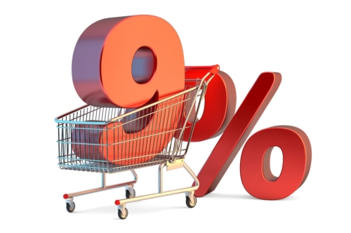 Shopping cart with 9% discount sign. 3D illustration. Isolated. Contains clipping path - slon.pics - free stock photos and illustrations