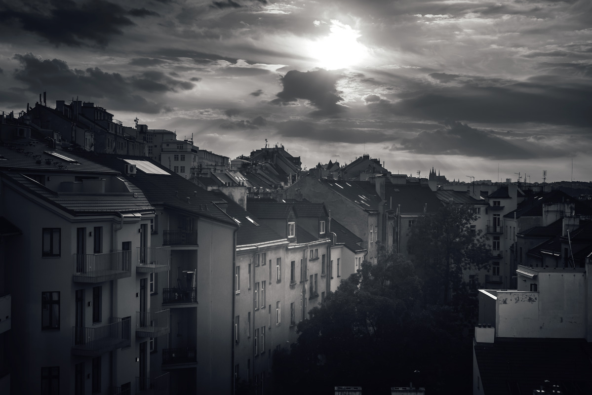 Silhouettes of Prague Cityscape on Cloudy Evening. Czech Republic - slon.pics - free stock photos and illustrations