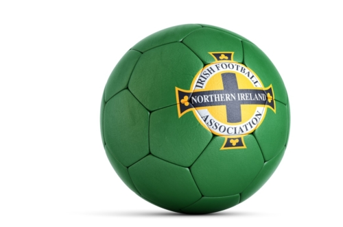 Soccer ball with Northern Ireland National Football Association logo. 3D illustration. Contains clipping path - slon.pics - free stock photos and illustrations