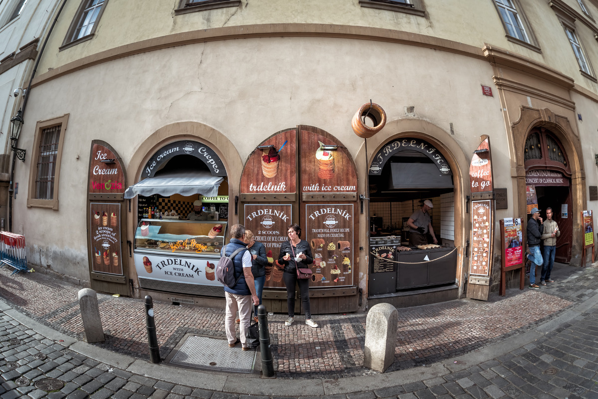 Trdelnik bakery on Karlova street in Old Town. Prague, Czech Republic - slon.pics - free stock photos and illustrations