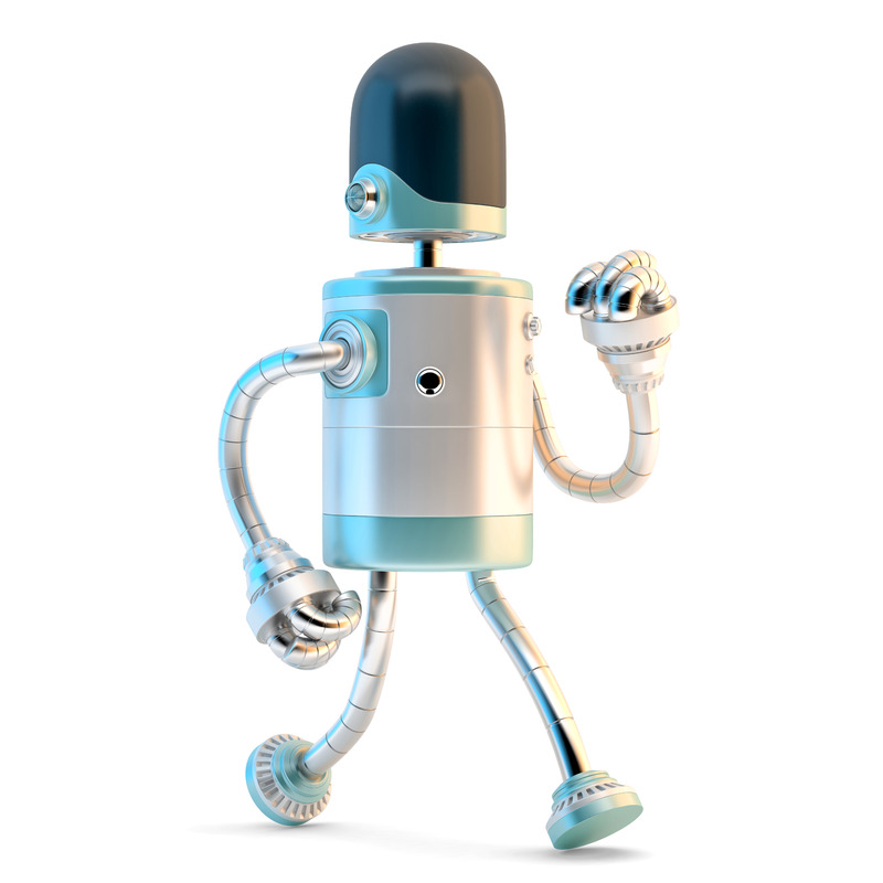 Walking Robot. 3D illustration. Isolated. Contains clipping path - slon.pics - free stock photos and illustrations