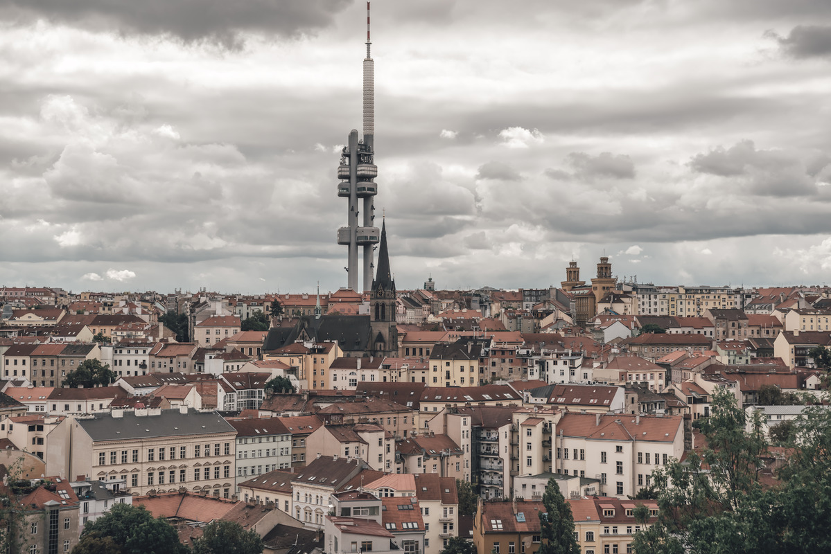 Zizkov TV tower and Prague cityscape. Czech Republic - slon.pics - free stock photos and illustrations