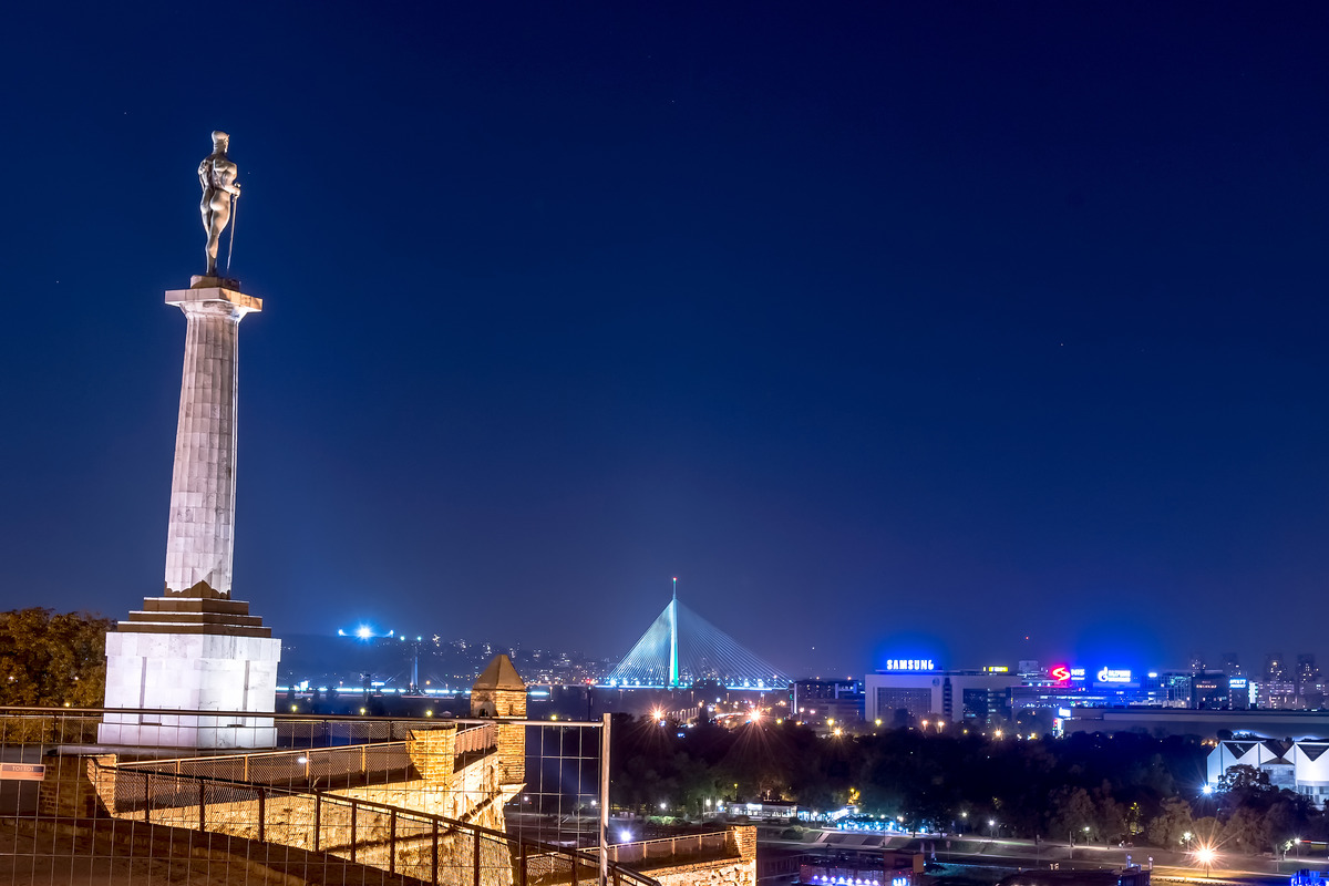 Belgrade seen by night from the Kalemegdan fortress. Serbia. Serbia. September 23, 2015 - slon.pics - free stock photos and illustrations
