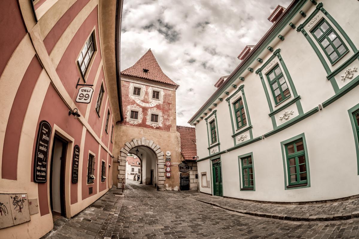 Budejovicka Gate at Latran street. Cesky Krumlov - slon.pics - free stock photos and illustrations