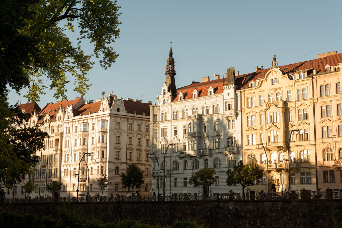 Buildings along Masarykovo riverside. Prague, Czech Republic - slon.pics - free stock photos and illustrations