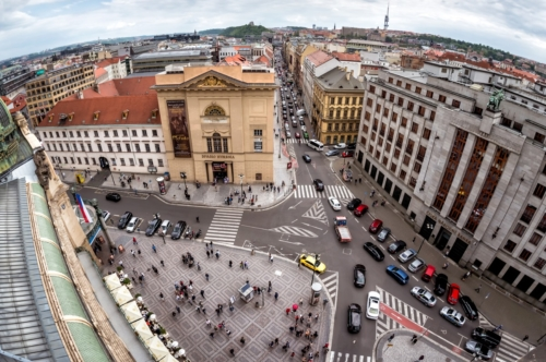 Elevated view of the K-shape crossroad in Republic Square in Prague, Czech Republic - slon.pics - free stock photos and illustrations