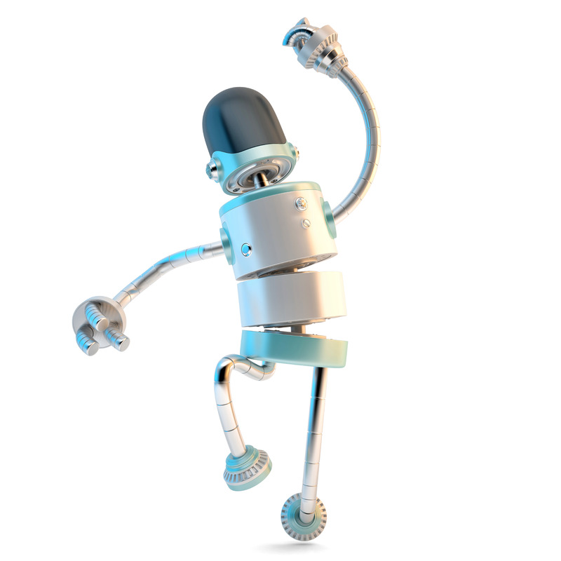 Happy jumping robot - slon.pics - free stock photos and illustrations